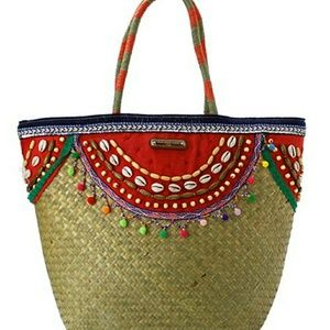 NICOLE LEE BRAIDED STRAW CACTUS TOTE/BEACH BAG!